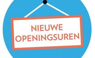 Nieuwe openingsuren vanaf dinsdag 29 september
